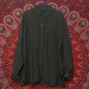 Westbound Green Button Up Blouse